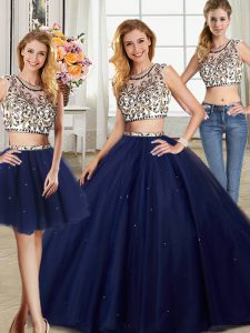 Three Piece Navy Blue Backless Scoop Beading Sweet 16 Quinceanera Dress Tulle Cap Sleeves Brush Train