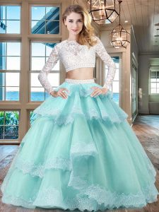 Pretty Ruffled Two Pieces Ball Gown Prom Dress Aqua Blue Scoop Tulle and Lace Long Sleeves Floor Length Zipper
