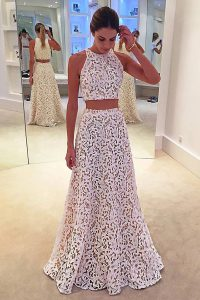 Luxurious Scoop White Sleeveless Lace Zipper Prom Dress for Prom
