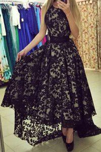 Admirable A-line Evening Dress Black Scoop Lace Sleeveless Asymmetrical Zipper