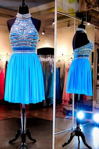 Romantic Halter Top Sleeveless Prom Evening Gown Knee Length Beading Baby Blue Tulle