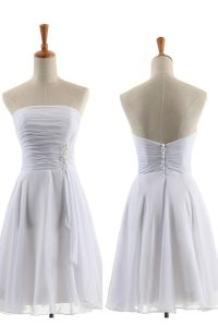 White Sleeveless Appliques Knee Length Mother Of The Bride Dress