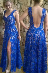 Chic Blue Lace Backless V-neck Sleeveless Floor Length Evening Dress Lace