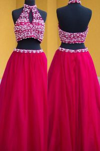 Noble A-line Prom Dresses Fuchsia Halter Top Satin Sleeveless Floor Length Backless