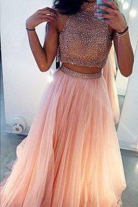 Tulle High-neck Sleeveless Sweep Train Side Zipper Beading Evening Dress in Peach