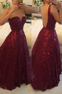 Burgundy A-line Beading Prom Evening Gown Backless Lace Sleeveless Floor Length