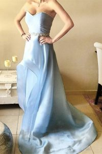 Light Blue Organza Zipper Sweetheart Sleeveless Asymmetrical Prom Dresses Beading