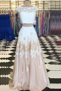 Cap Sleeves Floor Length Beading and Lace Backless Prom Gown with Champagne