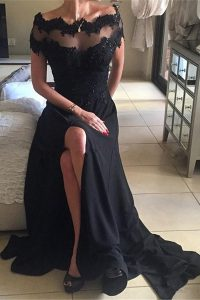 Smart Black Backless Off The Shoulder Beading and Lace Prom Party Dress Chiffon Short Sleeves Sweep Train