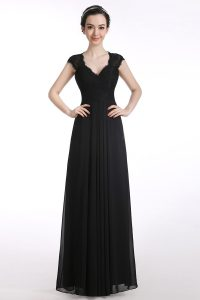 Noble Chiffon Cap Sleeves Floor Length Homecoming Party Dress and Lace