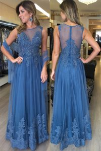 New Style Scoop Blue Sleeveless Floor Length Beading and Appliques Zipper Dress for Prom
