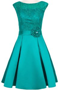 Scoop Taffeta and Lace Cap Sleeves Knee Length Prom Dresses and Hand Made Flower