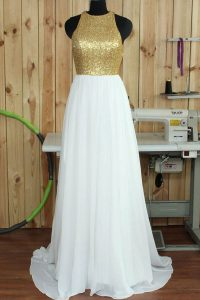 Scoop White Chiffon Backless Sleeveless Sweep Train Sequins