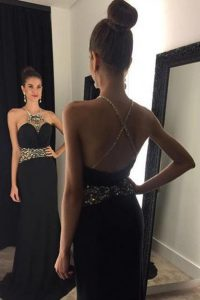 Beautiful Mermaid Halter Top With Train Black Prom Dress Satin Brush Train Sleeveless Beading
