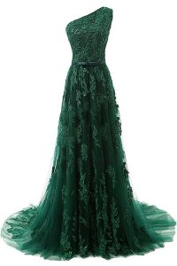 Most Popular Dark Green A-line One Shoulder Sleeveless Tulle Sweep Train Zipper Beading and Appliques Prom Homecoming Dr