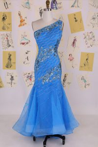 High Class Mermaid One Shoulder Blue Sleeveless Chiffon Zipper Prom Dress for Prom and Party
