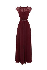 Floor Length Burgundy Pageant Dress Wholesale Scoop Cap Sleeves Zipper