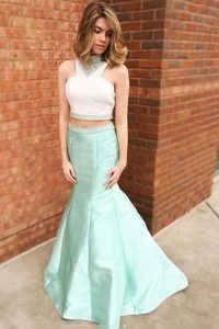 Attractive Apple Green Mermaid Satin Halter Top Sleeveless Beading and Lace Floor Length Zipper Prom Dresses