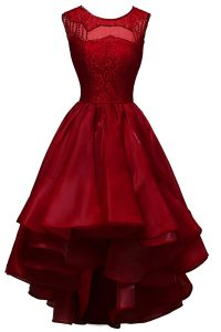 Beauteous Wine Red Sleeveless Beading High Low Dress for Prom