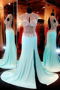 Gorgeous High-neck Cap Sleeves Custom Made Pageant Dress With Train Sweep Train Beading Aqua Blue Chiffon