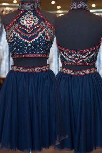 Exceptional Navy Blue Tulle Zipper High-neck Sleeveless Knee Length Homecoming Dress Embroidery