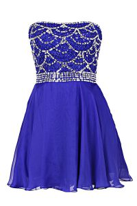 Knee Length Royal Blue Pageant Dress Wholesale Chiffon Sleeveless Beading