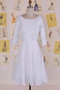 Pretty Scoop Half Sleeves Zipper Knee Length Ruching Mother Of The Bride Dress
