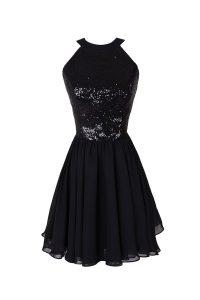 Scoop Sleeveless Chiffon Evening Dress Sequins Criss Cross