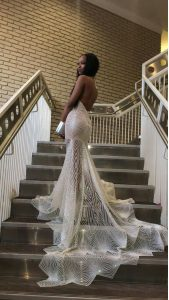Mermaid Silver Lace Backless Halter Top Sleeveless Prom Gown Court Train Lace