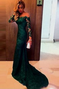 Modern Mermaid Off the Shoulder Lace Long Sleeves Homecoming Dress Sweep Train and Lace