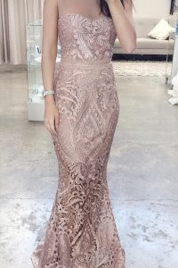 Top Selling Mermaid Scoop Pink Lace Zipper Dress for Prom Sleeveless Floor Length Lace