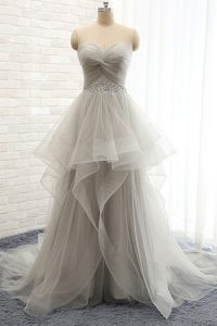 Popular Grey A-line Beading Prom Gown Lace Up Tulle Sleeveless