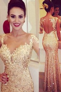 Designer Mermaid Sequins Gold Long Sleeves Tulle Backless Prom Homecoming Dress for Prom and Party