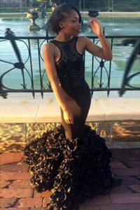 Gorgeous Mermaid Scoop Floor Length Backless Prom Dress Black for Prom and Party with Lace