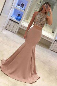 Super Mermaid Scoop Peach Sleeveless With Train Beading Zipper Prom Gown
