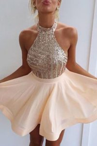 Peach Backless Halter Top Beading High School Pageant Dress Chiffon Sleeveless