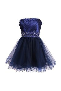 Top Selling Navy Blue Sleeveless Knee Length Beading and Sashes ribbons Zipper Prom Party Dress