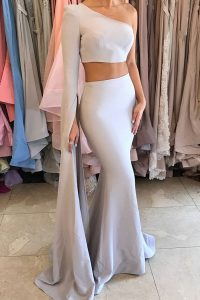 Attractive Mermaid Elastic Woven Satin One Shoulder Long Sleeves Side Zipper Ruching Custom Made Pageant Dress in Silver
