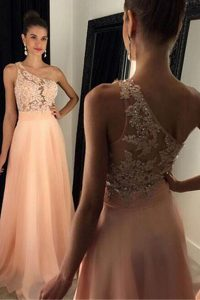 Dramatic One Shoulder Beading and Lace Peach Side Zipper Sleeveless Sweep Train