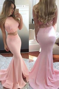 Glorious Scoop Pink Mermaid Lace Prom Dresses Backless Elastic Woven Satin Sleeveless With Train
