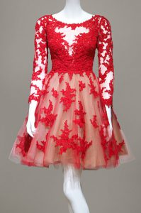 Scoop Red Long Sleeves Lace Zipper Mother Of The Bride Dress for Prom