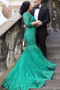Fabulous Mermaid Green Long Sleeves Tulle Chapel Train Lace Up Prom Party Dress for Prom