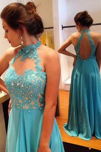 On Sale Scoop Blue Sleeveless Chiffon Sweep Train Backless Prom Dresses for Prom and Party