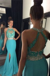 Comfortable Halter Top Aqua Blue Zipper Prom Dresses Beading and Appliques Sleeveless With Brush Train