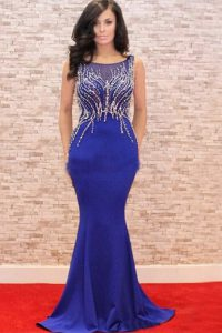Beauteous Mermaid Scoop Zipper Dress for Prom Royal Blue for Prom and Party with Beading and Appliques Sweep Train