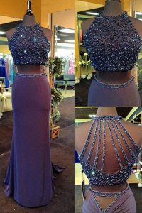 Dazzling Purple Two Pieces Scoop Sleeveless Elastic Woven Satin Floor Length Zipper Beading Prom Dress