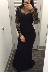 Glorious Mermaid Floor Length Black Mother Of The Bride Dress Satin Long Sleeves Beading and Lace