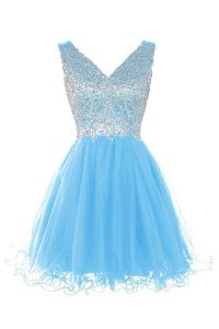 Traditional A-line Pageant Dress Wholesale Baby Blue V-neck Tulle Sleeveless Knee Length Zipper