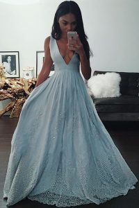 Sexy Floor Length Light Blue Mother Of The Bride Dress Taffeta Sleeveless Beading and Lace