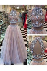 New Style Floor Length Two Pieces Sleeveless Pink Prom Party Dress Zipper